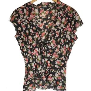 🔥Cottagecore Floral Fanned Tie Front Cardigan Top